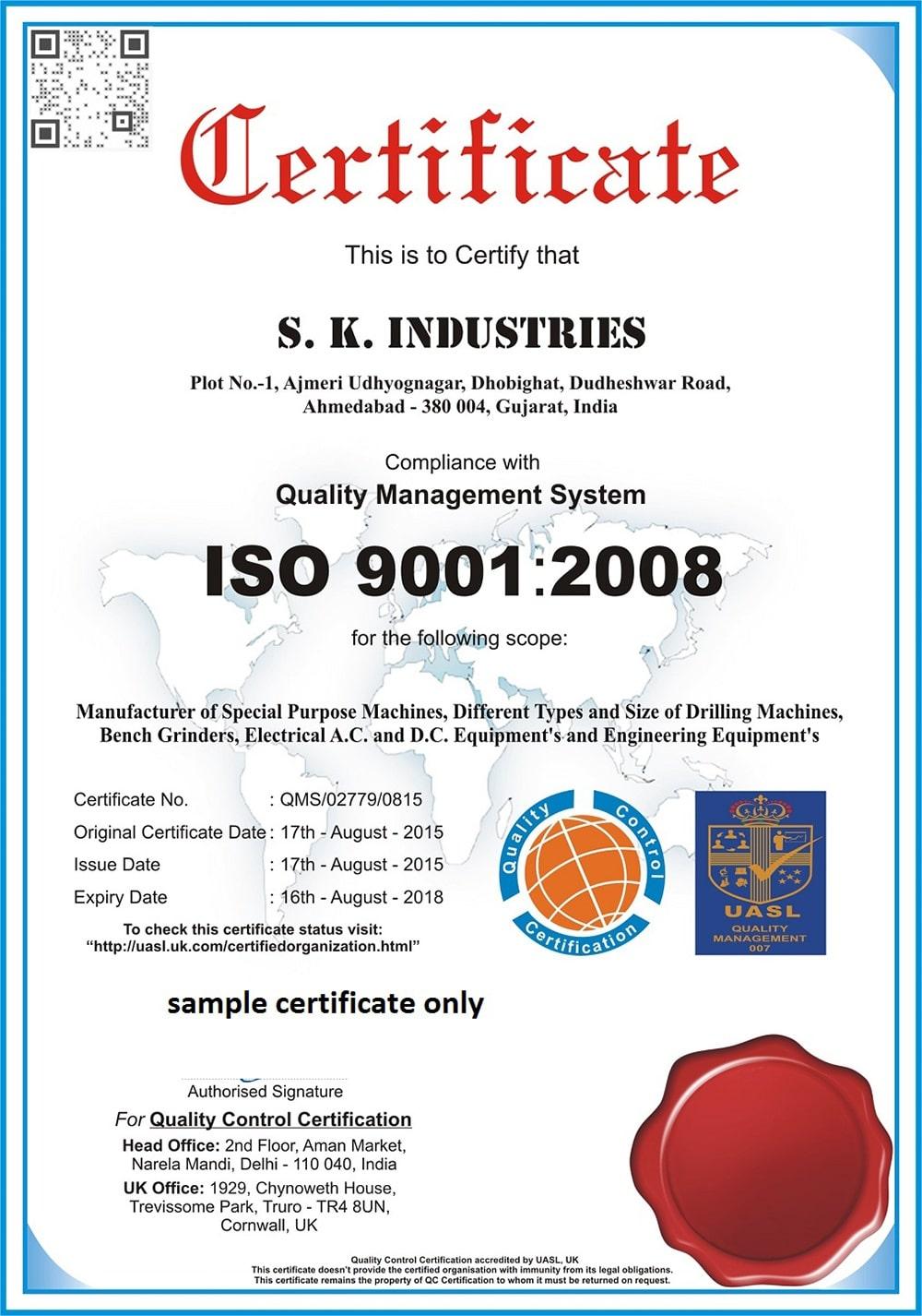 Drill Machine Quality Certificate